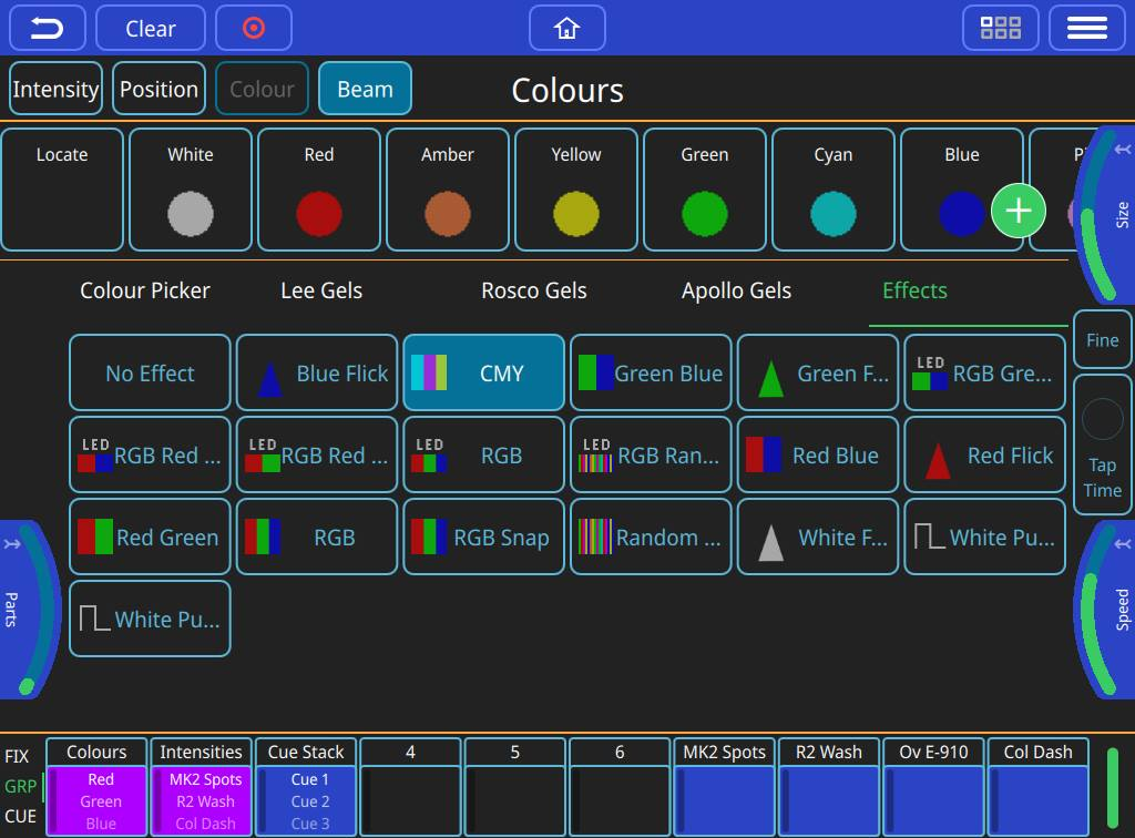 Colour Effects Window: Many of the MagicQ Effects are available, and you can adjust the effect using the encoders. Tap to time is available on effects and chases.
