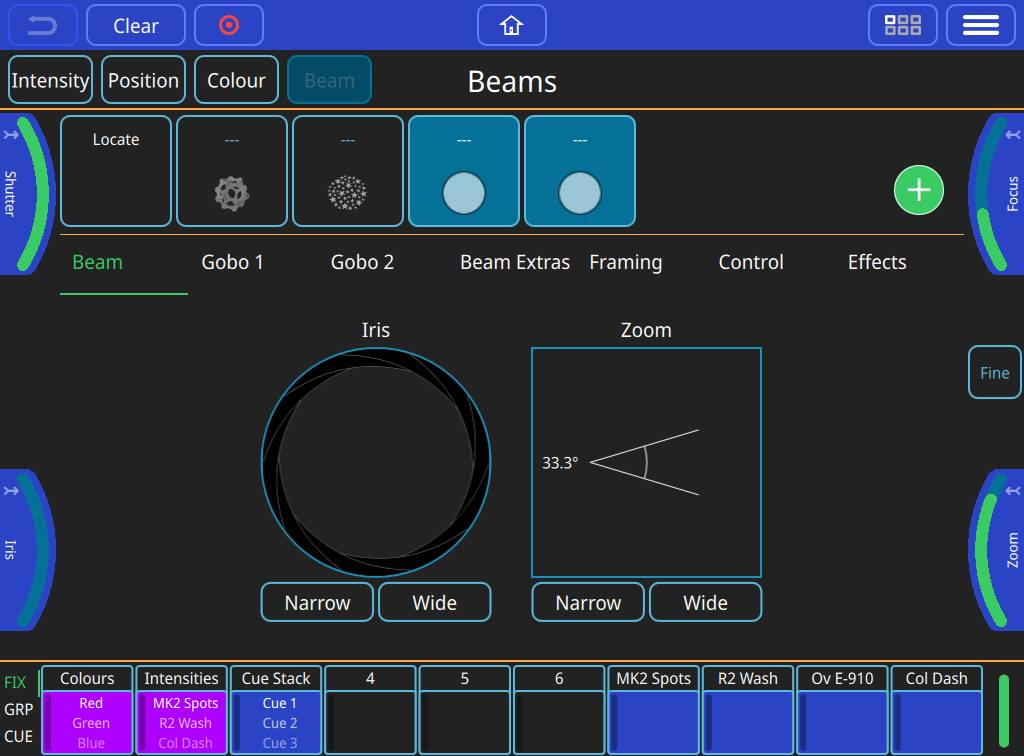 Beam Attributes Window. On the QuickQ 20 and QuickQ 30 you can use the encoders to adjust values, on the QuickQ 10 you can click and drag on the encoder graphics.
